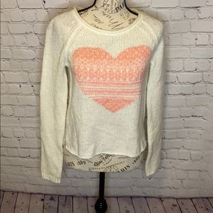 Bethany Mota pink heart cream sweater roll neck XS